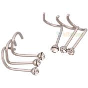 24Pcs Rhinestone Nose Ring Bone Stud Stainless Steel Body Piercing Hooked Sr