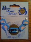 Blue Moon Beads Polymer Clay Blue Laundry Set of 5 Beads