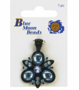 Blue Moon Flower Pendant - 1pc Aqua