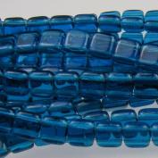 Czechmate 6mm Square Glass Czech Two Hole Tile Bead - Capri Blue