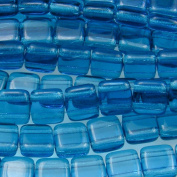 Czechmate 6mm Square Glass Czech Two Hole Tile Bead - Teal