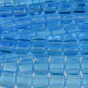 Czechmate 6mm Square Glass Czech Two Hole Tile Bead - Aquamarine