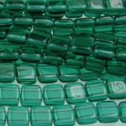 Czechmate 6mm Square Glass Czech Two Hole Tile Bead - Emerald