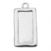 Rhodium Plated Pewter Rectangle Picture Frame Pendant 31mm