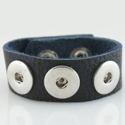 Small Black Textured Grain Soft Leather Snap Chunk Bracelet - 22cm