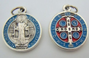 Lot of 2! Oxidised Silver with Blue Red Enamel 2.5cm Saint Benedict Protection Rosary Necklace Medal