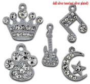 10 Pieces Silver Tone Charms (Guitar, Music Note, Paw, Crown, Moon/Star) by Cosmetic Counter