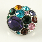Chunk Snap Charm Colourful Rhinestones 20 mm for Fashion Jewellery Chunk Snap Leather Bracelets