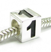 Sterling Silver Dice Cube Digit 1 one Bead Tube for European Charm Bracelets