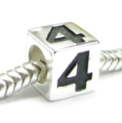 Sterling Silver Dice Cube Digit 4 Four Bead Tube for European Charm Bracelets