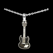 From the Heart Black Enamel Electric Guitar Necklace Embellished with Clear Crystal Rhinestones.2.5cm Guitar arrives on 46cm chain in Gift Box.Fantastic Gift for the Female Musician in your Life!!
