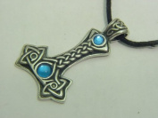 Pewter Thors Hammer with Blue Celtic Norse Viking Pendent