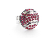 Baseball Red Crystals Silver Stitching Fashion Stretch Ring Sports Jewellery