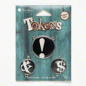 """Blue Moon Beads Tokens 3 Pc Metal Charms """"!"""" """" & """" """"$"""""""
