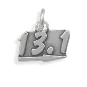 Half Marathon Running Charm 13.1 Antiqued Sterling Silver - Made in the USA