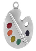 Sterling Silver Enamel Painter's Palette with Spit Ring - Item #40430