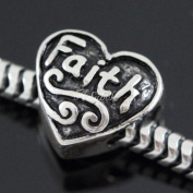Faith Love Heart .925 Sterling Silver charm Fits Pandora, Biagi, Troll, Chamilla and Many Other European Charm #EC496