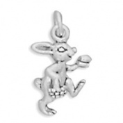 Easter Bunny with Egg and Basket 3D Small Rabbit Sterling Silver Charm
