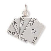 Four Aces Poker Card Hand Sterling Silver Charm
