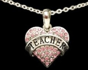 From the Heart Pink Crystal Rhinestone Heart Pendant Engraved with TEACHER on 46cm Silver Plated Chain ina a Gift Box. Pink Rhinestones Sparkling!!- Perfect Gift for the Teacher in your Life or your Child's Life!!! Wonderful Graduation, Birthday,Eas ..