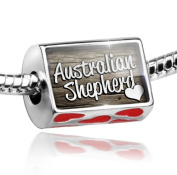 Bead with Hearts Australian Shepherd, Dog Breed United States - Charm Fit All European Bracelets , Neonblond