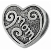 MOM HEART 925 Sterling Silver European Charm Bead