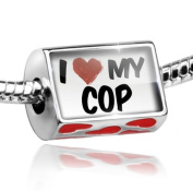 Bead with Hearts I Love my Cop - Charm Fit All European Bracelets , Neonblond
