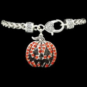From the Heart Orange & Black Crystal Rhinestone Jack O'Lantern Pumpkin Bracelet.Halloween Pumpkin Charm is attached to Silver Metal Heavy Bracelet with Lobster Claw Closure.......Fun Sweet Gift for Anyone who likes Halloween & Pumpkins:) Will Mail in ..