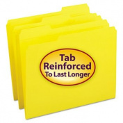 File Folders, 1/3 Cut, Reinforced Top Tab, Letter, Yellow, 100/Box