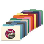 Interior File Folders, 1/3 Cut Top Tab, Letter, Aqua, 100/Box