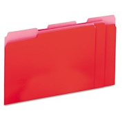 Recycled Interior File Folders, 1/3 Cut Top Tab, Letter, Red, 100/Box