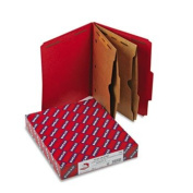 Pressboard Folders, Two Pocket Dividers, Letter, Six-Section, Bright Red, 10/Box