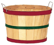 One Dozen Natural 1/2 Bushel Baskets with Red and Green Hoops
