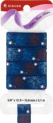 Singer Patriotic Fireworks Satin Ribbon, 1.6cm Wide by 12-Feet Long, Seep Sea Navy