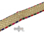 Decortaive Golden Indian Sari Border Sewing Apprael Lace Trim Weaving Craft Ribbon 1 Yard Hand Crafted.