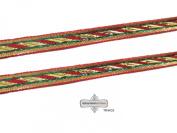 Antique Indian Sari Border Golden Ribbon Thread Work Dupatta Lace Craft Trim Fabric By The Yard.