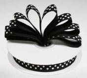 1.6cm Black Grosgrain Ribbon with White Polka Dots - 25 Yards