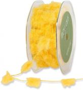 May Arts Ribbon, Yellow Fuzzy Pom Poms