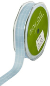 May Arts 1.6cm Wide Ribbon, Light Blue Plaid