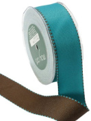 May Arts 3.8cm Wide Ribbon, Brown and Turquoise Reversible Grosgrain