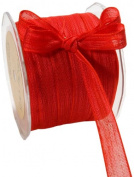 May Arts 1.6cm Wide Ribbon, Red Mesh