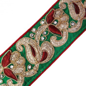 Green Fabric Trim Paisley Design Royal Tape Embroidered Handcrafted Lace 1 Yard