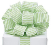 Zig Zag Chevron Ribbon Green & White #9 Wired Woven, 3.8cm w X 20 Yard Roll