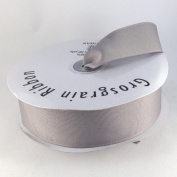 3.8cm Silver/Grey Grosgrain Ribbon 50 Yards Spool Solid Colour.