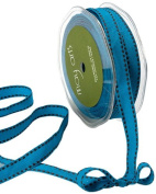 May Arts 1.3cm Wide Ribbon, Blue Grosgrain with Brown Stitches