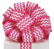Pink White Chevron Satin Ribbon 3.8cm x 20 yard roll Gift Wrap Bow Wreath Decor