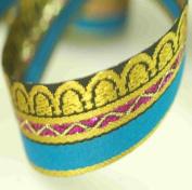 Brocade Style Edwardian Indian Ribbon Sari & Salwar Crafts Trimming by the Metre. Beautiful 2.2cm wide ribbon; Beautiful Mogul India Jacquard designs, Traditional Mogul Jacquard Inspired sari Indian ribbon border; Great For Crafts and Hobbies; 2 Beauti ..