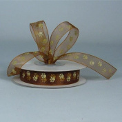 Sheer Chocolate Organza Ribbon with Toffee Paw Prints 1.6cm X 25 Yds Spool
