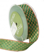 May Arts 2.5cm Wide Ribbon, Green Woven Cheque