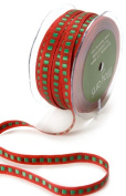 May Arts 1cm Wide Ribbon, Red with Green Squares